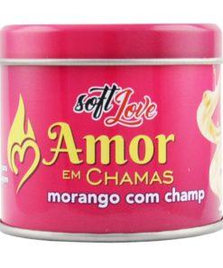 Amor em Chamas - Vela Beijável 50g Soft Love Morango com champanhe