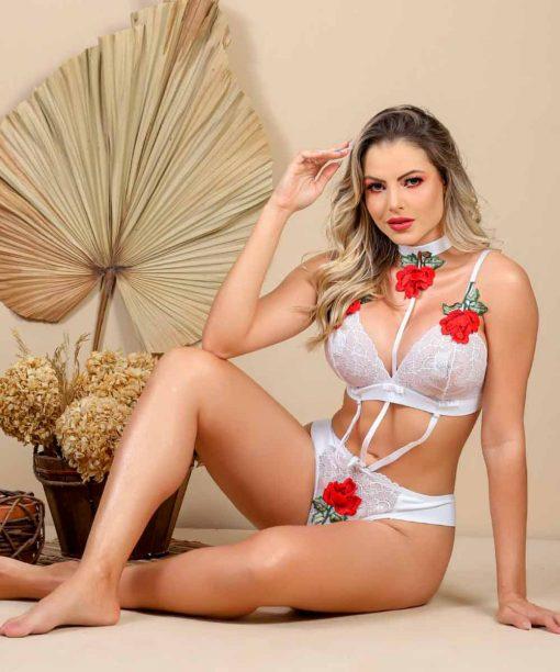 Body Versatile em renda com aplicações de Rosas