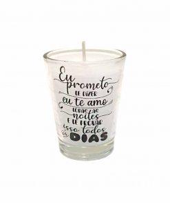 Vela perfumada em copinho de vidro personalizado em etiqueta de vinil transparente Frase : Eu Prometo te dizer Eu te Amo